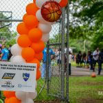thank you sign at grand opening of basketball court
