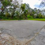 The basketball court before it was restored