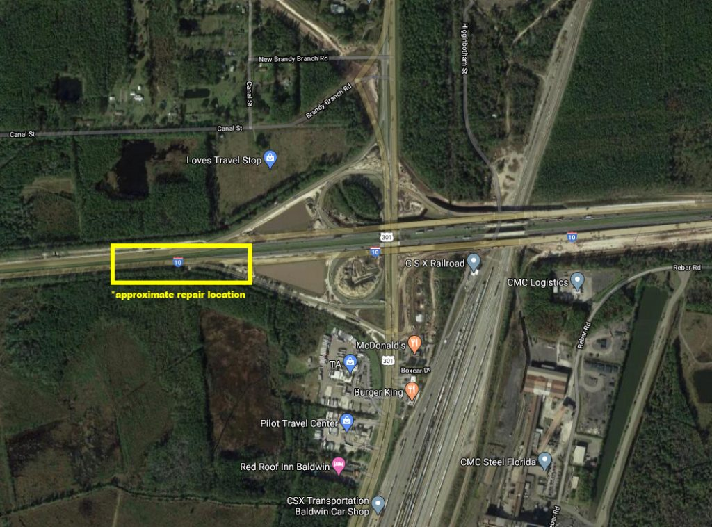map image showing the I-10 interchange at U.S. 301 in Baldwin, FL