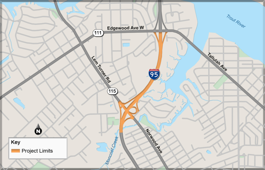 Graphic of project limits, I-95 at SR 115