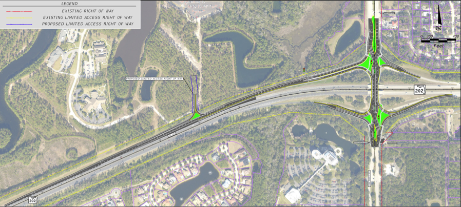 SR 202 Aerial Image showing Diverging Diamond Interchange Design