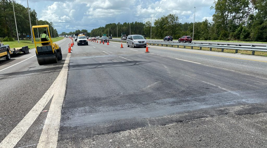 Close up of finished asphalt repair on I-10 eastbound, just west of Hammond Blvd. exit.