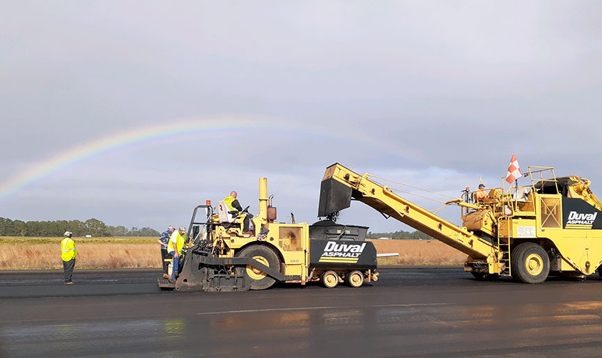 Asphalt Contractor Paving Airport Job with Rainbow