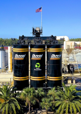 Duval Asphalt silos with a recycling logo